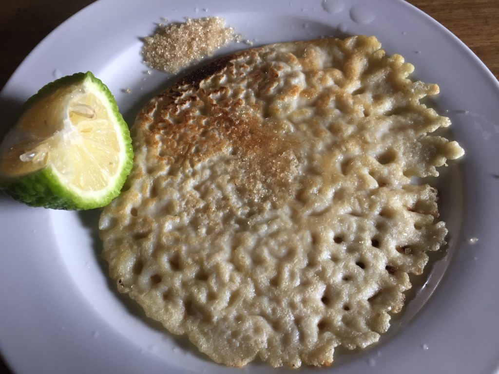 English Pancakes with lime and sugar in Grenada