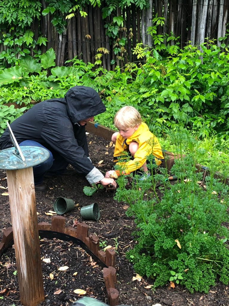 Ann showing a student how to plant