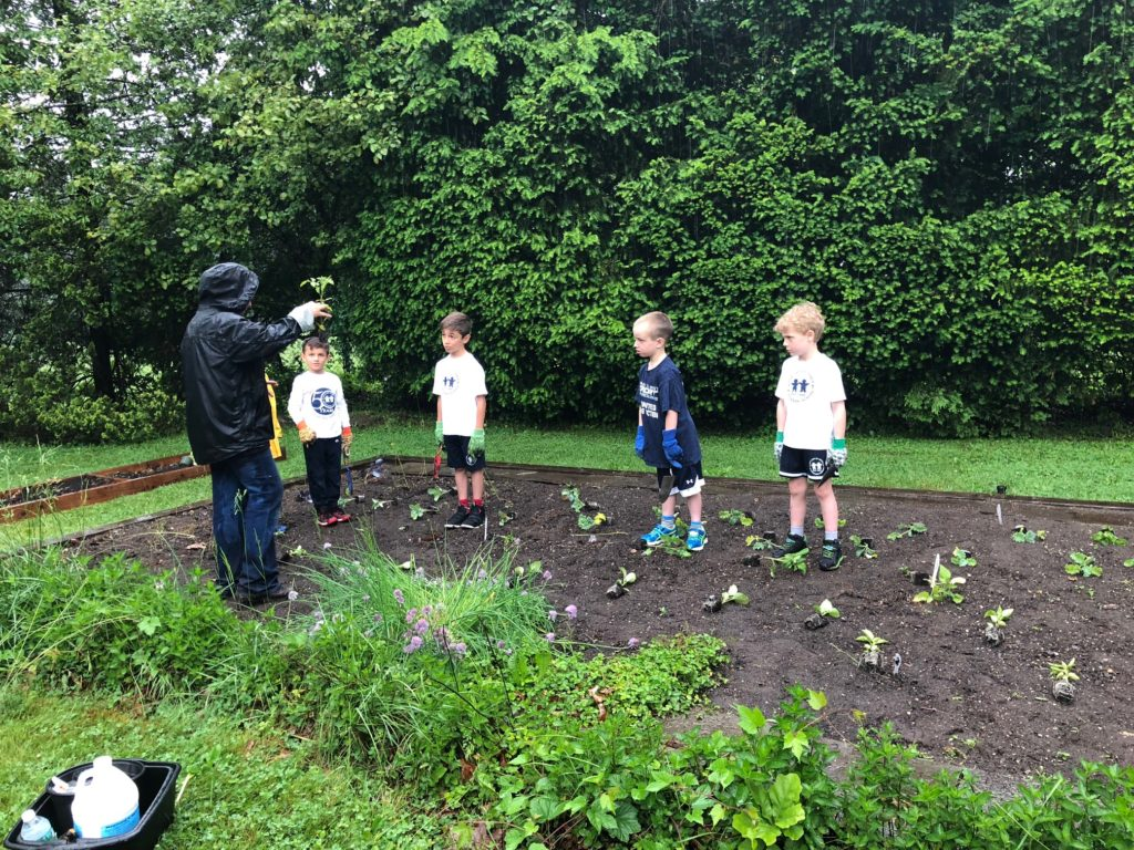 Ann teaching students how to plant