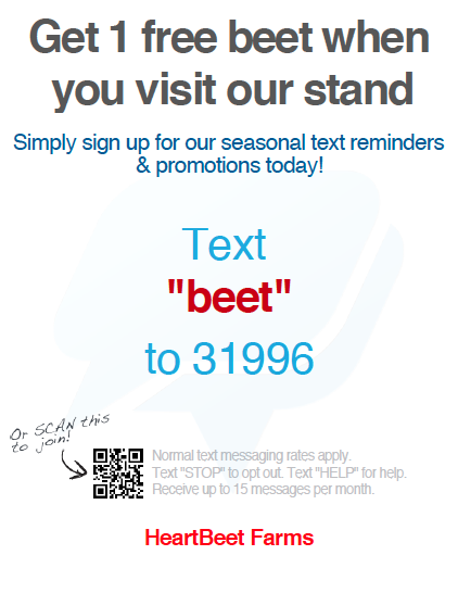 HeartBeet Farms Seasonal text list